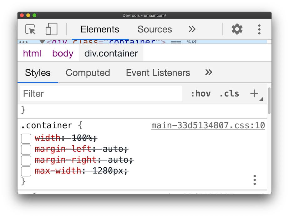 A screenshot showing how DevTools reflects your changes from the Sources Panel, back to the Styles Pane in the Elements Panel