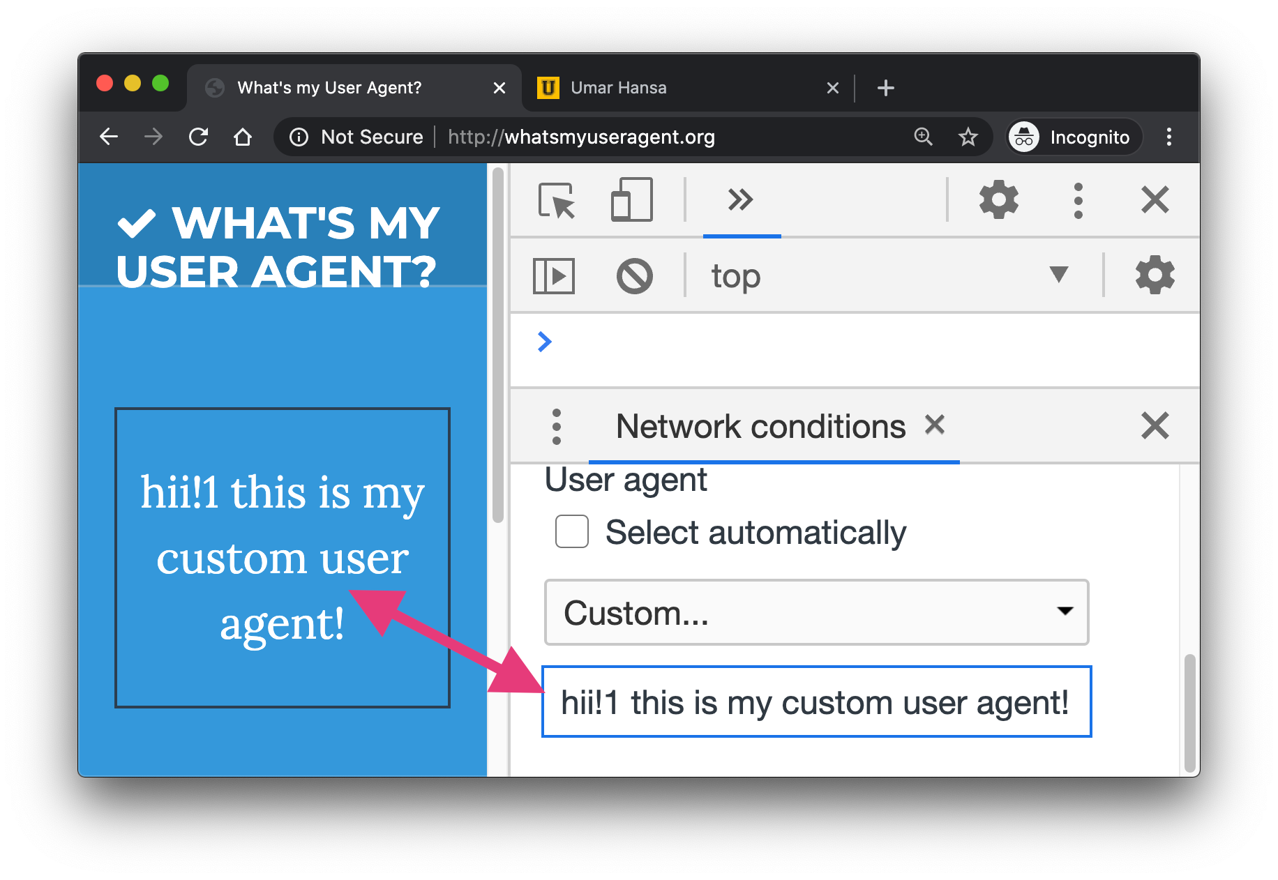 A screenshot showing how to set a custom user agent in DevTools